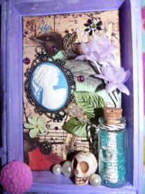 Intricate shadow ornament, message in a bottle and added charms