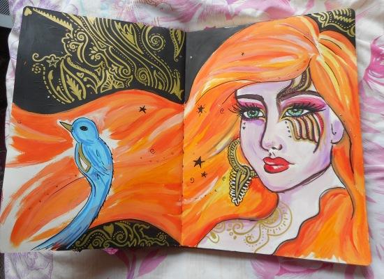 Orange hair girl art journal