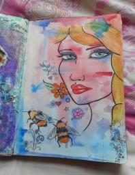 Watercolour wash & pen