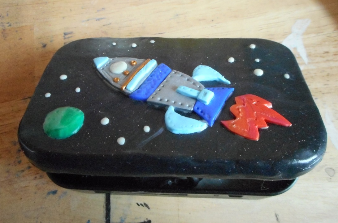 Polymer Clay rocket tin