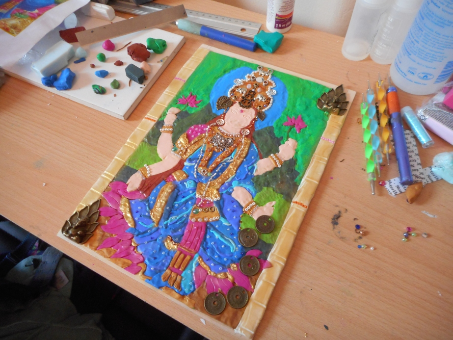 Mixed Media Hindu Goddess Lakshmi