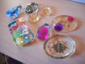 Resin moulds with charms and beads