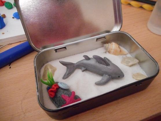 Polymer clay Shark and Tin