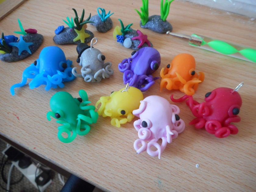 different coloured octopus