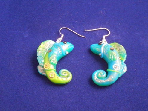 steampunk fish earrings