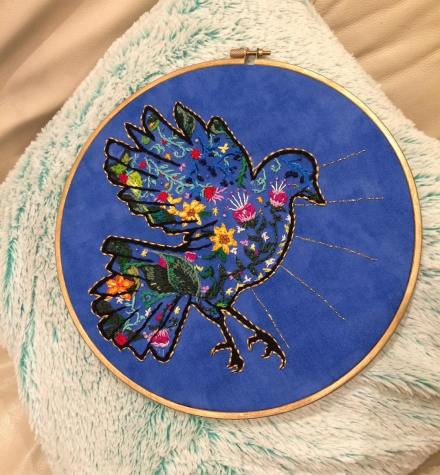 bird silhouette embroidery