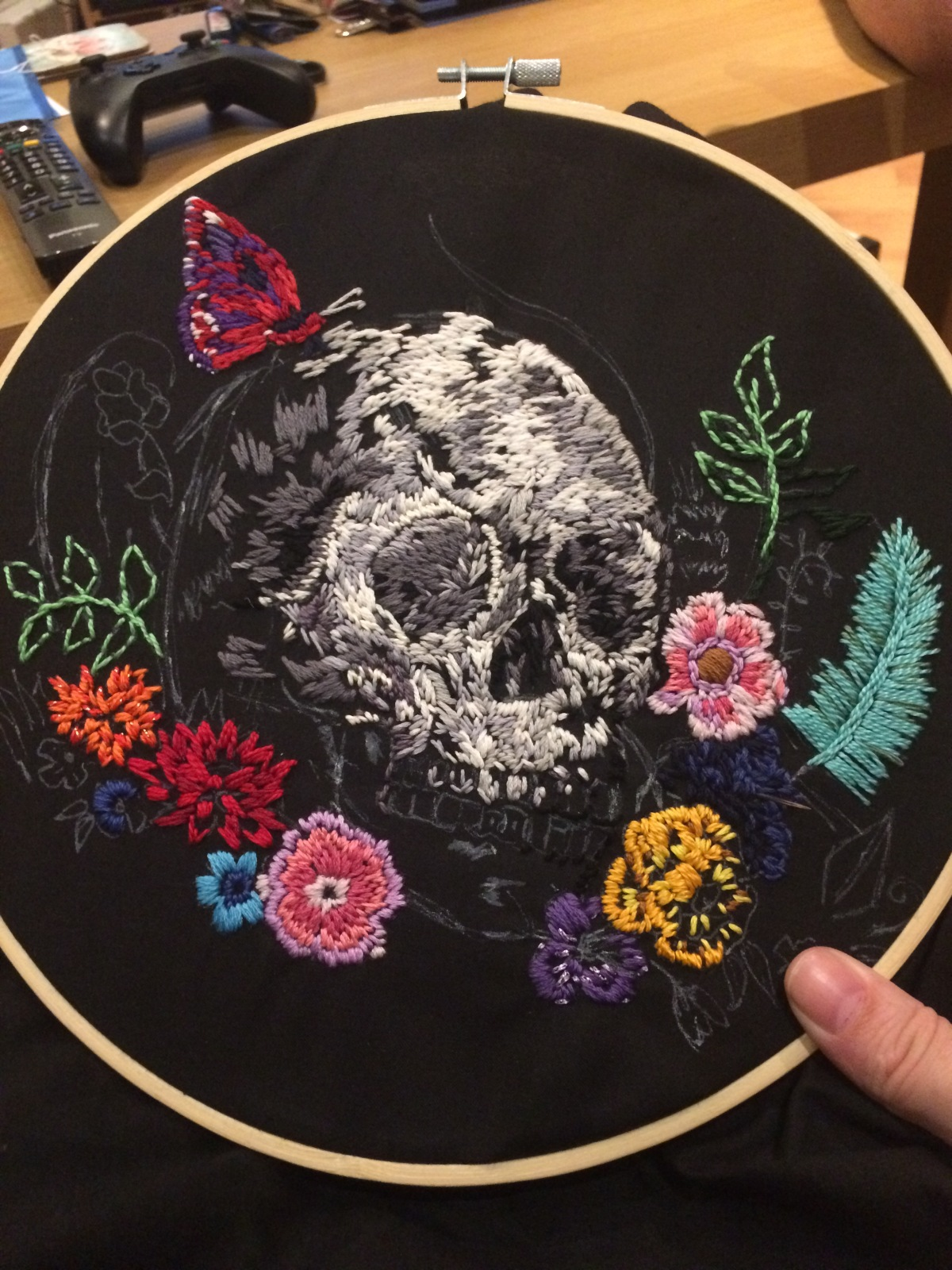 Skull, Flowers and Goofy Embroidery