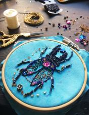 Bead Embroidery Beetle