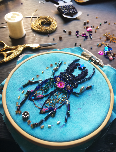 Bead Embroidery Beetle