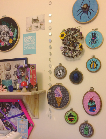 Embroidery Hoops on Wall