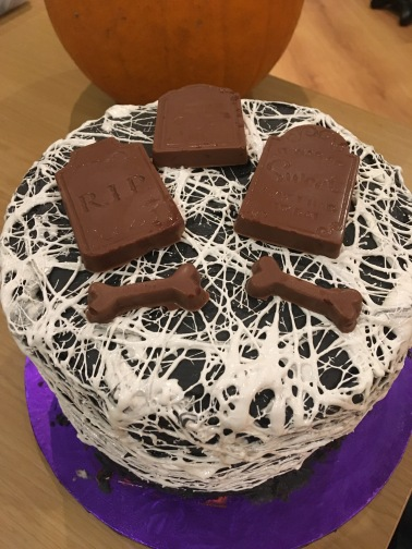 Halloween Cake and Chocolate Tombstones